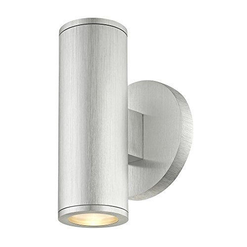 Cylinder Outdoor Wall Light Up/Down Brushed Aluminum by Design Classics