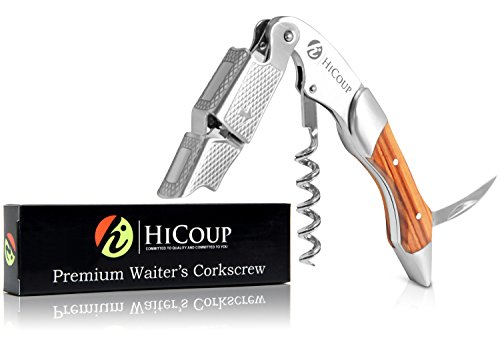 Waiters Corkscrew by HiCoup – Professional Stainless Steel with Mahogany Wood Inlay All-in-one Corkscrew, Bottle Opener and Foil Cutter, the Favoured Wine Opener of Sommeliers, Waiters and Bartenders For Sale