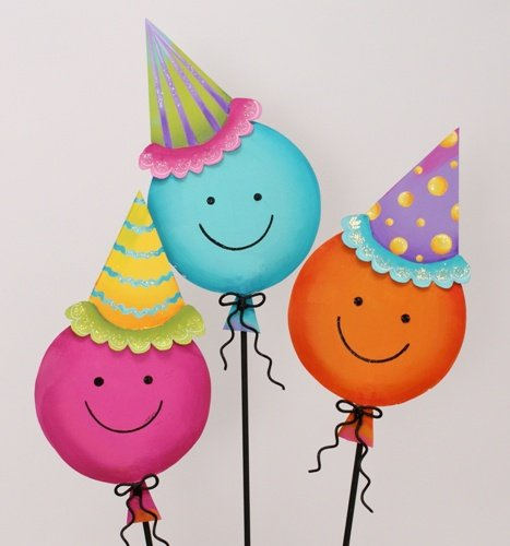 The Round Top Collection Party Smiley Balloons Sm. - Asst. 3 - Metal