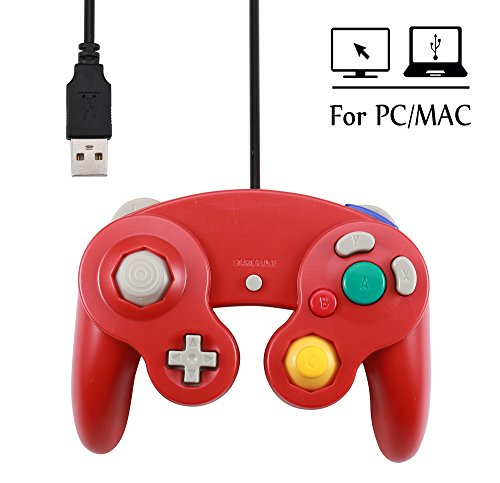 Mekela 5.8 feet Classic USB wired NGC Controller Gamepad resembles gamecube for Windows PC MAC (USB Red)