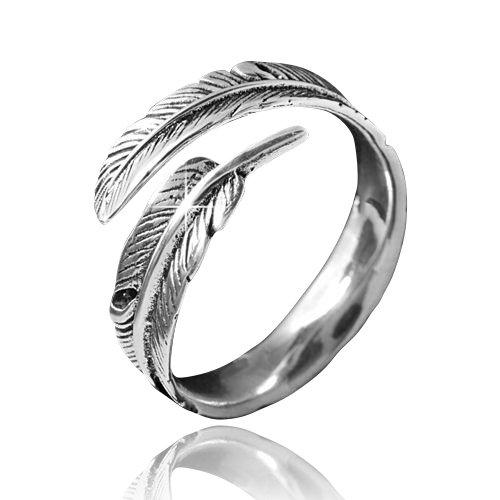 MATERIA gioielli 925 argento anello norvegese, - anello da donna in argento anticato piuma in taglia 52 - 60/taglia regolabile #SR-23 MATERIA by Matthias Wagner