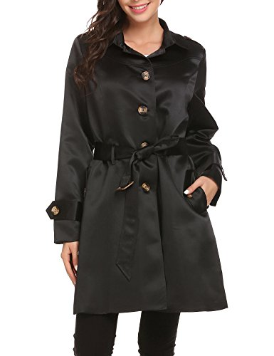 Mofavor Women's Belted Single Breasted Elegant Long Trench Coat With Pockets Black Satin Trench Coat
