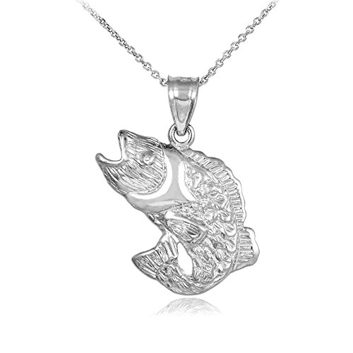 925 Sterling Silver Sea Bass Pendant Necklace, 20