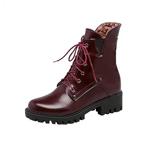 Women's Low Claret Toe Heels Pu Boots TSDXH108975 Up AalarDom Round Lace Solid dOqd5