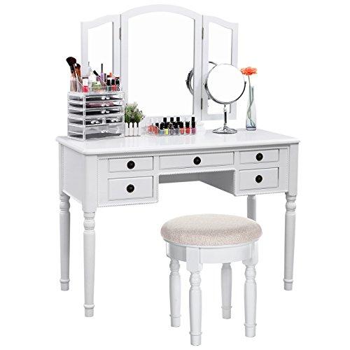 SONGMICS Vanity Set Tri-folding Mirror Make-up Dressing Table Cushioned Stool 5 Drawers White URDT108M