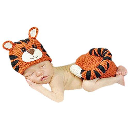 Hwafan Newborn Baby Crochet Tiger Costume Outfit Infant Caps Pants Set Photo -