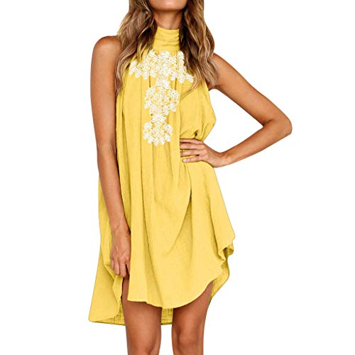 ZEFOTIM Womens Holiday Party Irregular Dress Ladies Summer Beach Sleeveless Print Dress(Yellow,Large) ()