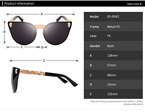 Gafas para Hombres Skull tamaño Mujeres de Eye Plata HD Lente gran Gafas Protección de reflectante de Decoration ATNKE Cat UV400 sol Marco Metal PC con Moda CtqzF