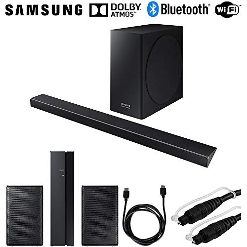 Samsung 330W 3.1.2-Channel Soundbar System w/Wireless Subwoofer (HW-Q70R/ZA) SWA-8500S/ZA Wireless Rear Speakers Kit + 6ft HDMI Cable + 6ft Optical Toslink 5.0mm OD Audio Cable (Samsung Hdmi Sound Bar)