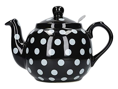 London Pottery Farmhouse Polka Dot Teapot with Infuser, Ceramic, Black/White, 4 Cup (1 Litre) (Black White And Teapot)