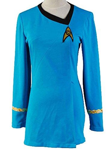 mingL Women's Uniform TNG Costume Office Female Duty Dress Cotton Red/Blue (Captain Kirk Outfit)