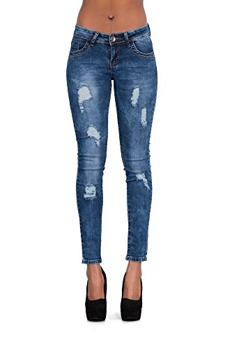 LustyChic - Vaqueros - para mujer Blue Frayed Ripped