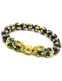 Feng Shui Prosperity 10mm Hand Carved Mantra Bead Bracelet with Double Color Changed Pi Xiu/Pi Yao Attract Wealth and Good Luck