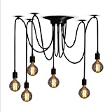 ZHMA Classic Spider pendent Lamps, Ajustable DIY Ceiling Spider Light E27, Rustic Chandelier, Industrial Hanging Light Dining Hall Bedroom Hotel Decoration, 6 Arms(Each with 1.7m Wire) Review