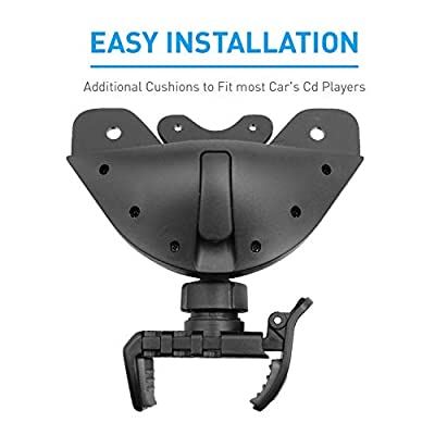 Macally Universal Car CD Phone Mount Holder - Works with CD Player Slot & Compatible with iPhone Xs MAX/XR/XS/X/8/8 Plus/7/7 Plus/6s, Galaxy S10/S9/S8/S7, Google, Huawei, etc.