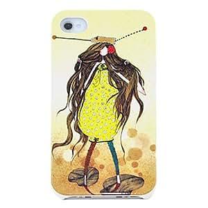 Procesamiento de dos días -Cartoon Girl in Yellow Caso duro del patrón para el iPhone 4/4S