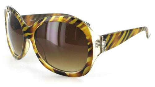 Monaco 1904 Women's Designer Sunglasses with Unique Stylish Patterned Frames and Large Lenses Gold Stripe + - Sunglasses Monaco
