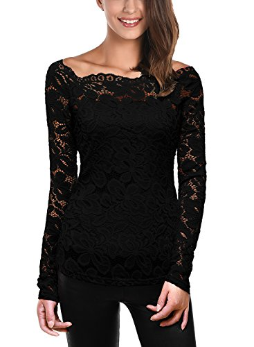 DJT Womens Boat Neck Floral Lace Raglan Long Sleeve Shirt Top Medium Black