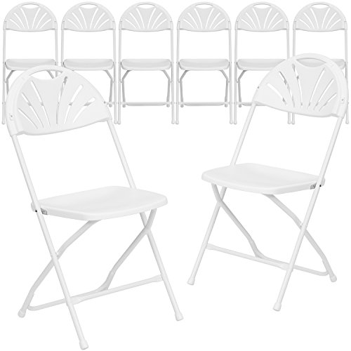 Flash Furniture 8 Pk. HERCULES Series 800 lb. Capacity White Plastic Fan Back Folding Chair]()