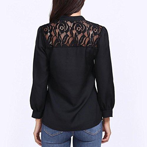 Automne Solide Nouvelle Dentelle Tops Manches Dress Blouse zahuihuiM Mode Bouton Longues Noir Casual Femmes Printemps Chemise Cou V Lache xEwnqgYR