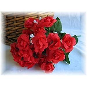 20 RED Mini Open Roses Wedding Favors Silk Flower Floral Arrangements Artificial Flowers Centerpieces 111