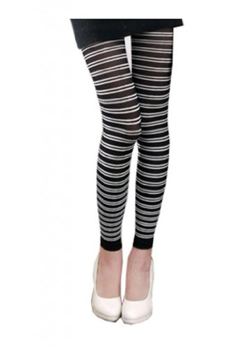 Sexy Black White Footless Stripes Stretchy Legging Tights XS ~ M (Leggings Stretchy Footless Tights)