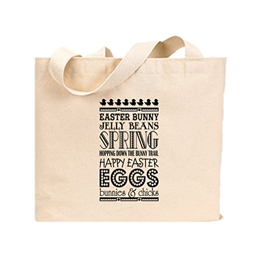 Canvas Jumbo Tote Easter Bunny Jelly Beans Spring Happy East