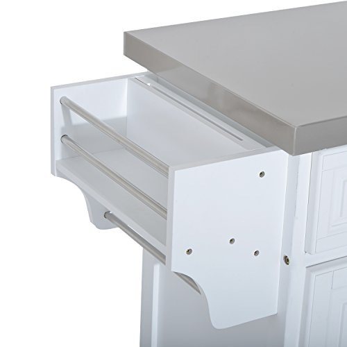 HOMCOM Pine Wood Stainless Steel Multi-Storage Portable Rolling Kitchen Island Cart with Wheels - White by HOMCOM (Image #9)