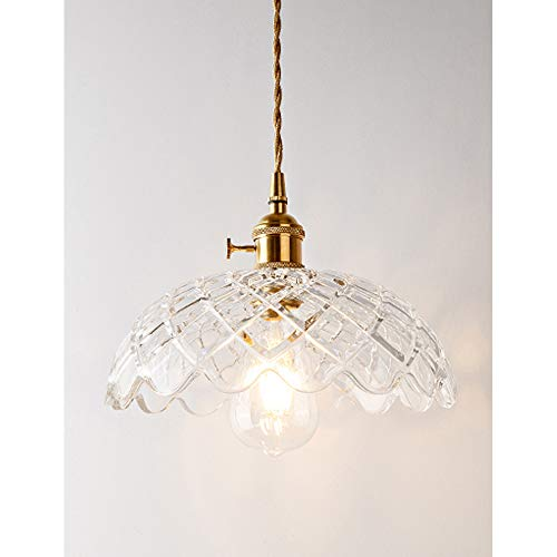 - Phwii Hanging Pendant Lighting Fixture Clear Glass Shade with Brass Finish Height Adjustable Vintage Modern One-Light Ceiling Lamp