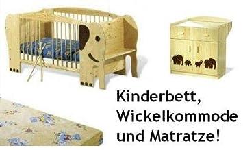 Pinolino Kinderbett Elefant Jumbo + Kommode + Matratze
