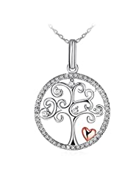 """Necklace, 925 Sterling Silver CZ Pendant Necklace J.Rosée Fine Jewelry for Women """"Tree of Life"""" 18""""+2""""Extender, Ideal Christmas Gift Birthday Gifts for Daughter Girlfriend Mother"""