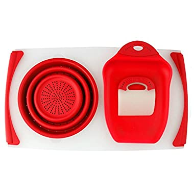 Dexas Collapsible Over the Sink Strainer Board (20 In. X 11.5 In.) with Chop and Scoop & Scraper (Red)