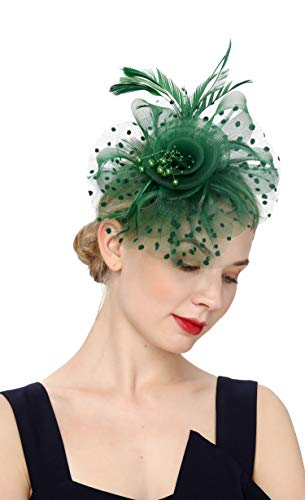 Cizoe Flower Cocktail Tea Party Headwear Feather Fascinators Top Hat for Girls and Women(1-green)]()