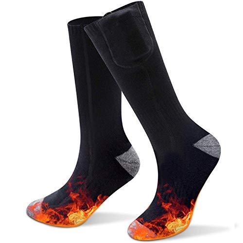 Elektrische Socken,lektrische Beheizte Warme Socken Thermal Warm Heated Socks Sneaker Socken Herren Damen schwarz Baumwolle Sportsocken für Fuß wärm eregelungIdeal Fußwärmer (Grau) (Schwarz)