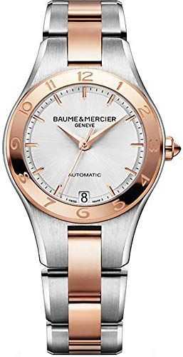 - Baume and Mercier Linea White Dial Stainless Steel and 18kt Rose Gold Ladies Watch 10073