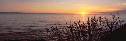 Sunset over Pacific Ocean near Santa Barbara California Poster Print (27 x 9) (Santa Barbara California)