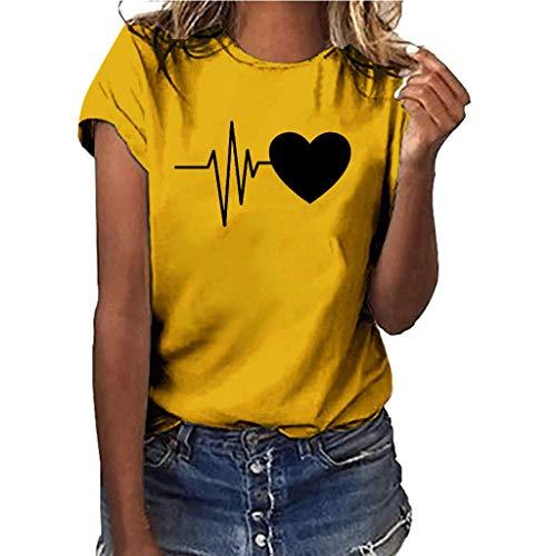 Women Girls Plus Size Print Shirt Short Sleeve T Shirt Blouse Tops Yellow ()