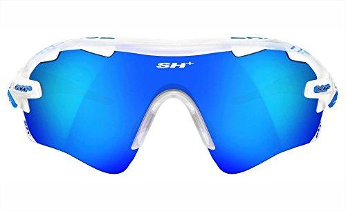SH + RG 5100, lunettes Mixte adulte M Crystal Bianco/Revo Laser Blu