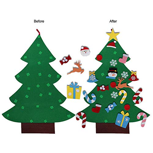 Felt Christmas Tree Craft Kit, 3.9ft, 26 Ornaments, Door Wall Hanging Decorations Kids DIY Educational Gift -