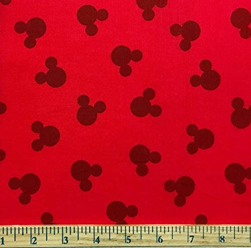 12 Yard - Mickey Mouse Ears Dot Tossed on Red Cotton Fabric - Officially Licensed (Great for Quilting Sewing Craft Projects Throw Blankets & More) 12 Yard X 44 / 12 Yard - Mickey Mouse Ears Dot Tossed on Red Cotton Fabric - Officia...