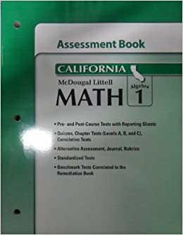 Book McDougal Littell Middle School Math California: Assesssment Book Algebra 1