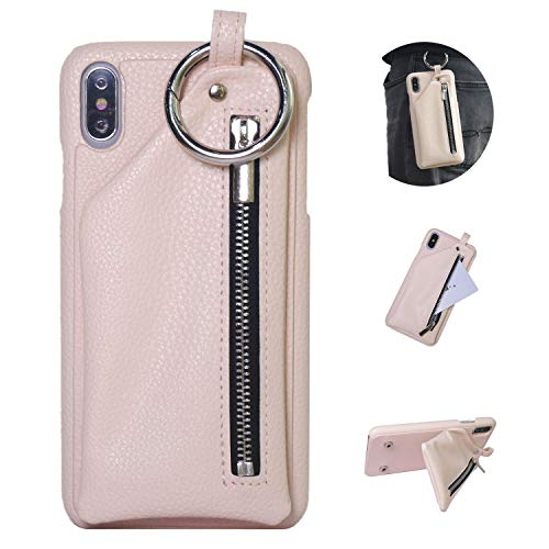 iPhone 8 Plus Wallet Case, iPhone 7 Plus Case, DMaos Leather Wallet Case with Zipper Pocket for AirPods Earphone Cash Card Holder, Self Style Fashion Buckle, Premium for iPhone 5.5 Inch - Baby Pink
