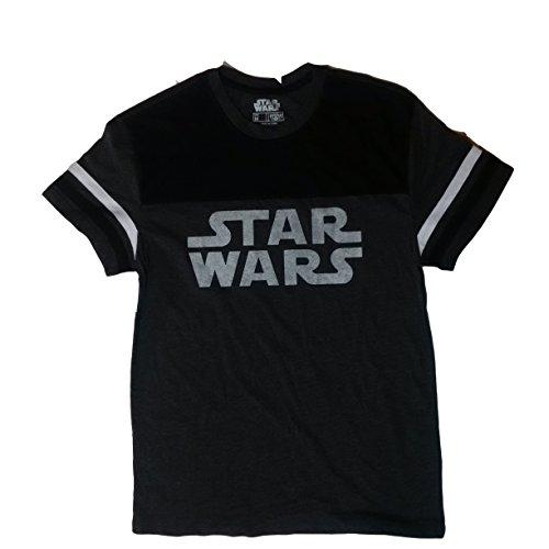Ringer T-shirt Company - Star Wars Classic Logo Ringer Mens T-shirt Charcoal Grey XL