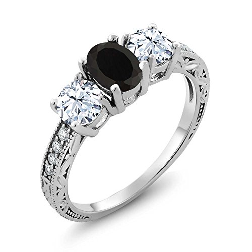 Gem Stone King Black Onyx 925 Sterling Silver Women's Ring 2.42 Ct Oval Gemstone Birthstone Available 5,6,7,8,9 (Size 8)