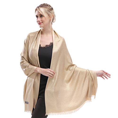 LMVERNA Pashmina Scarf For Women Glitter Shimmer Reversible Shawls And Wraps Scarf For Evening Dresses(Gold)