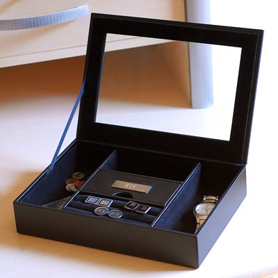 Mens Personalized Valet (Personalized Men's Custom Valet Box with 3 Engraved Initials)