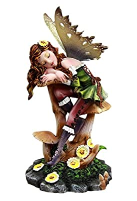 "Atlantic Collectibles Daisy Mushroom Cottage Garden Fairy Daydreaming Figurine 5.25""Tall"