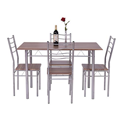 Giantex Modern 5 Piece Dining Table Set with 4 Chairs Metal Frame Wood Like Kitchen Furniture Rectangular Table & Chair Sets for Dining Room (Shallow Walnut) by Giantex (Image #2)