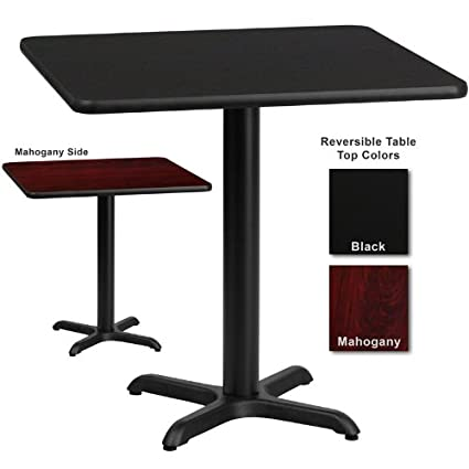 Flash Furniture 24 Inch Square Dining Table W/ Black Or Mahogany Reversible  Laminate Top
