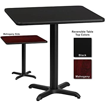 flash furniture inch square dining table black or mahogany reversible laminate top view png glass wood base topper